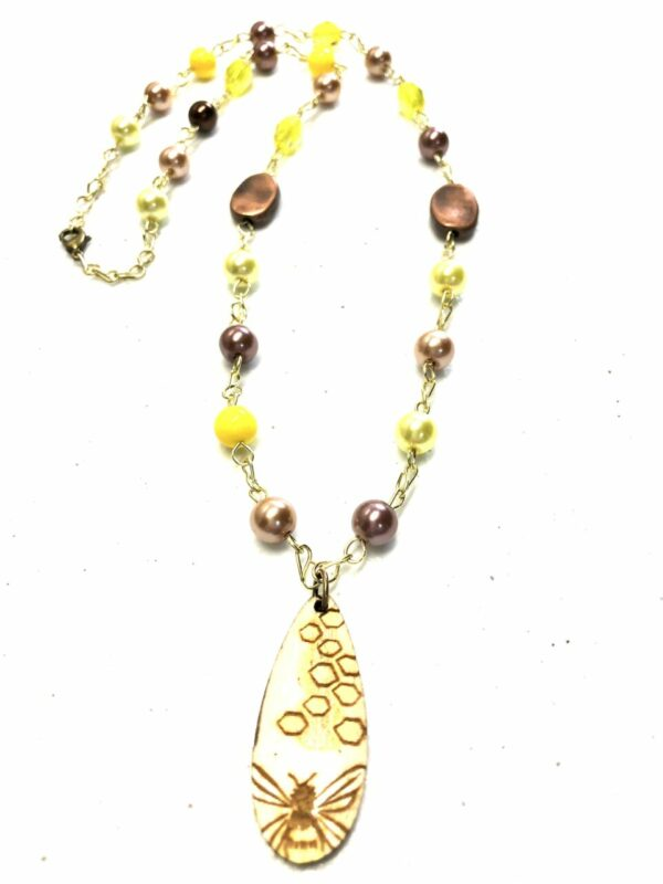 Handmade yellow & brown necklace with honey bee pendant
