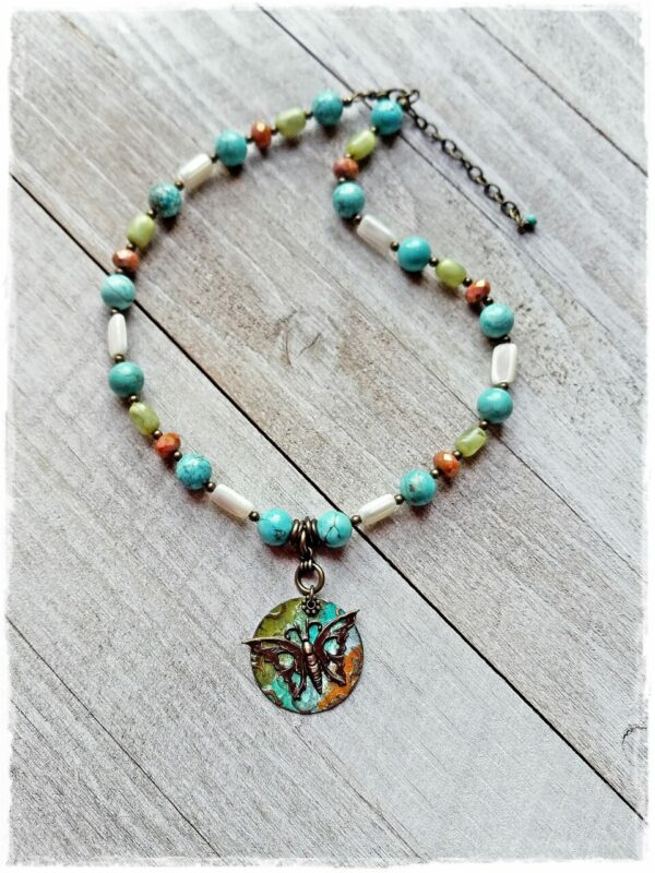 Beaded Brass Butterfly Pendant Necklace