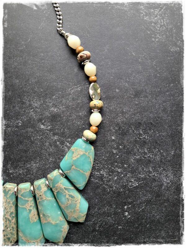 Beaded Serpentine Jasper Statement Necklace
