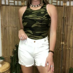 Judy Blue Mid-Rise Destroyed White Shorts