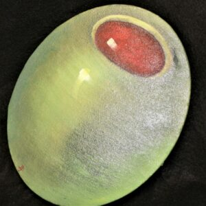 """""""Olives 3"""" Hand Painted on Oval Canvas by Artist Debie Plog"""