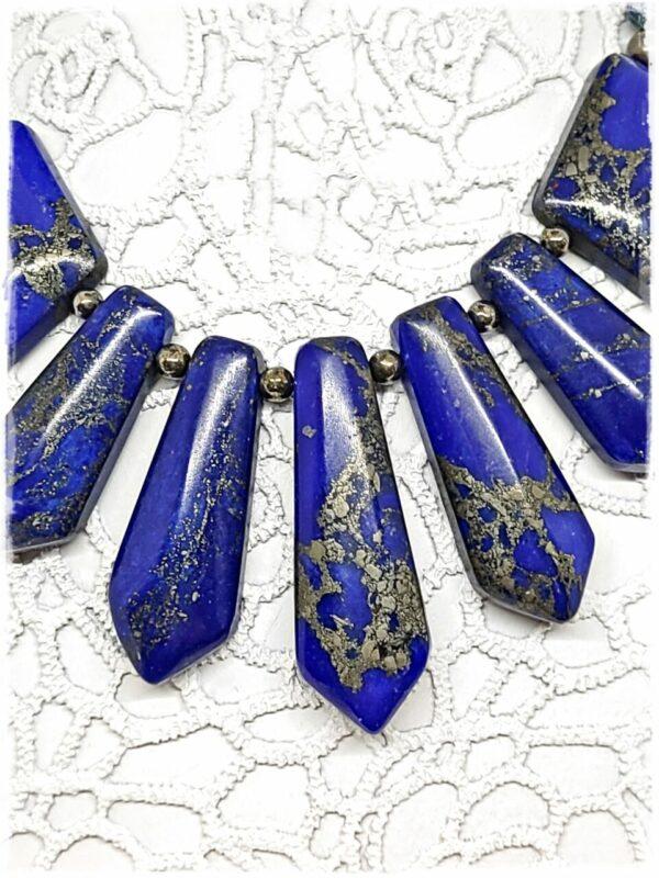Lapis Lazuli and Golden Pyrite Statement Necklace