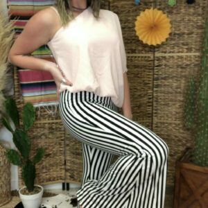 Black and Ivory Striped Print Flare Pants
