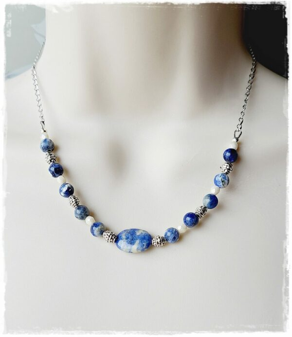 Silver Daisy Pendant and Sodalite Bead Necklace Set