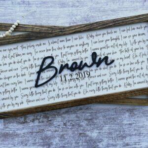 Wedding Vow/Song Lyric Wedding/Anniversary Gift Wood Sign