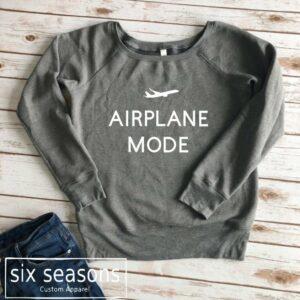 Airplane Mode Wide Neck Crew Sweatshirt