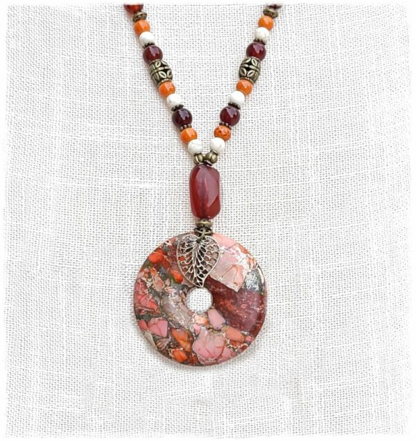 Orange Jasper Pendant Necklace