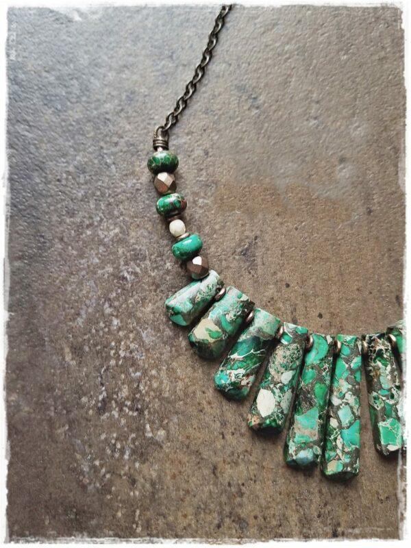 Women's Emerald Green Jasper and Pyrite Necklace