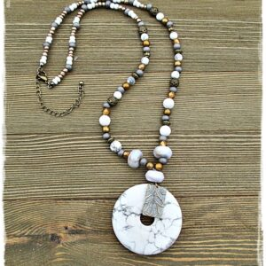 White Howlite Pendant Necklace