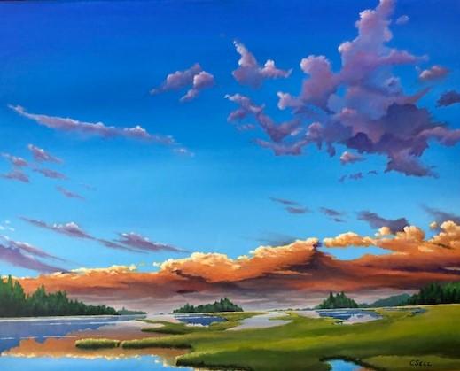 Iowa Marsh Sunset Painting by Cris Sell