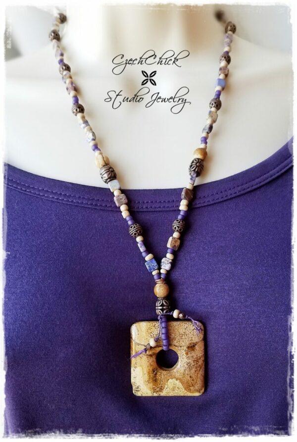 Beaded Picture Jasper Pendant Necklace