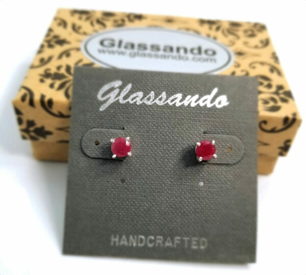 Red Ruby and sterling silver post stud earrings