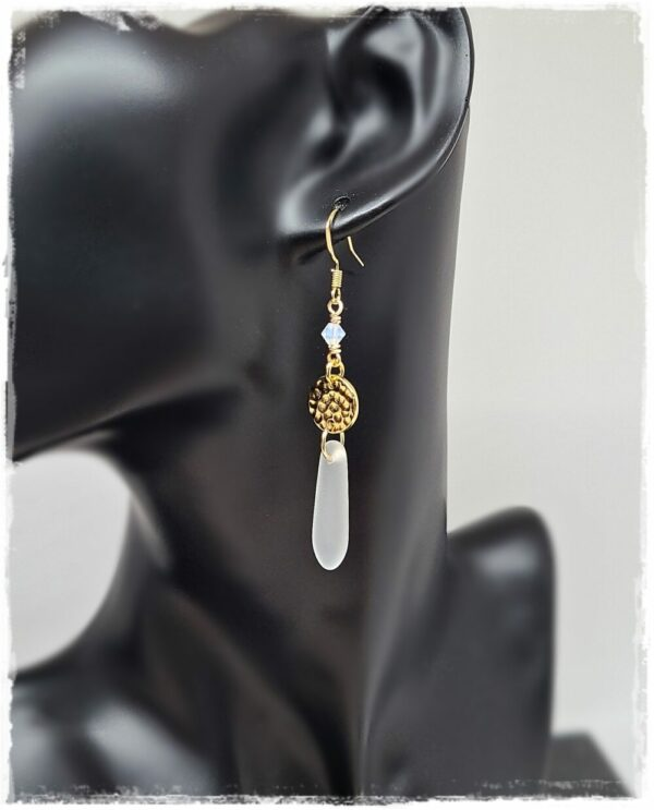 Glass Drop Earrings with Gold Hammered Discs