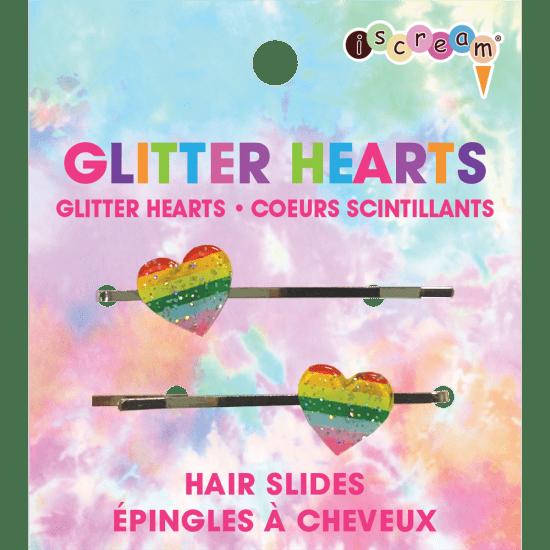 glitter hearts hair slides