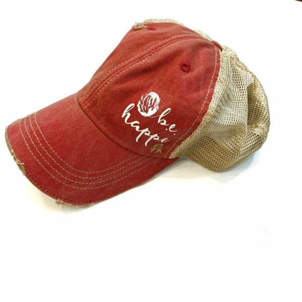 Distressed Baseball Cap   Red