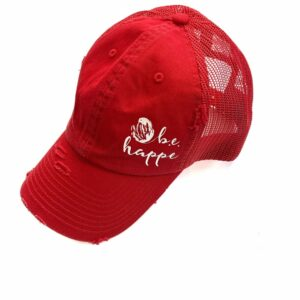 Distressed Baseball Cap | Bright Red