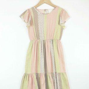 sage and rose frill sleeve flounce dress