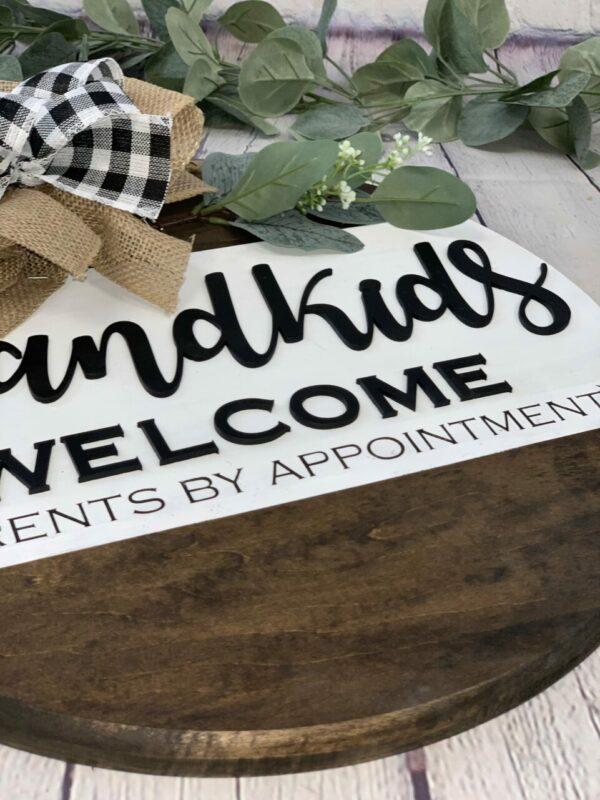 Grandkids Welcome Front Door Sign