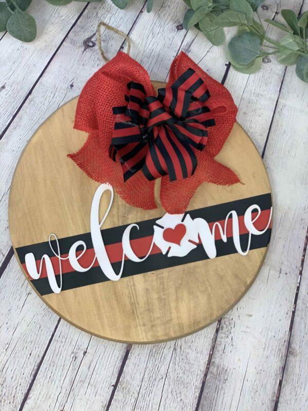 Firefighter Welcome Front Door Sign