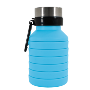 light blue collapsible water bottle