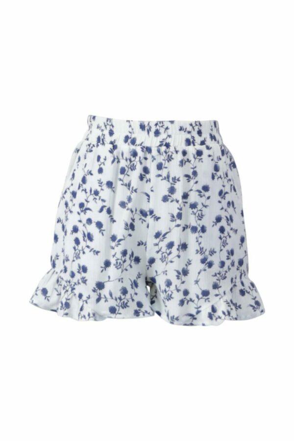 floral gauze short w/ ruffle hem