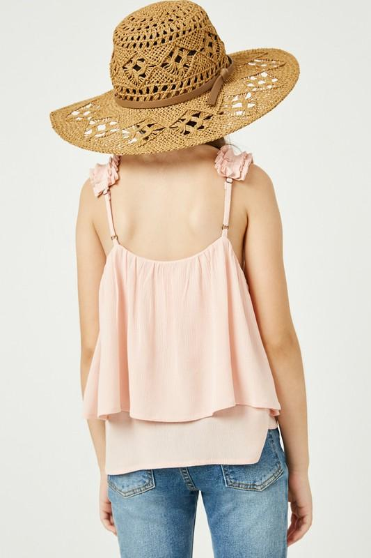 pink embroidered tiered pink tank