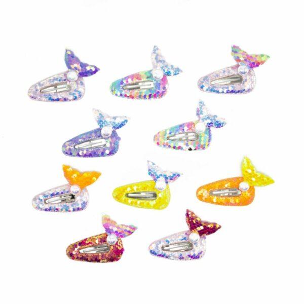 Sequin Mermaid & Seashell Hair Clip Set (2 sets, 20pcs)