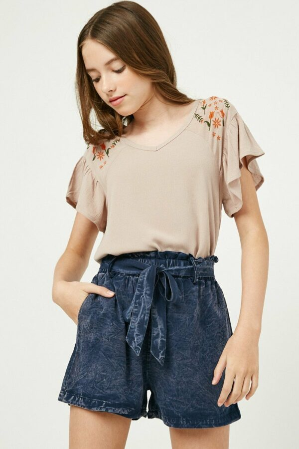 garment dyed belted tencel shorts