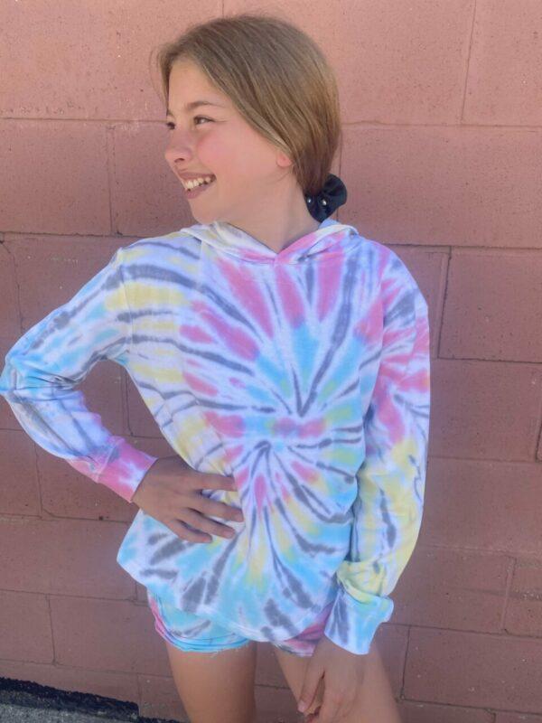 heatwave tie dye french terry crop hoodie