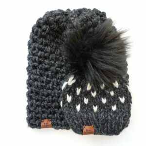 Mommy & Me Simple Slouch + Happe Heart Hat | Charcoal