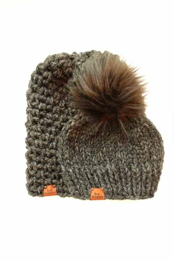 Mommy & Me Simple Slouch + Solid Hat   Charcoal