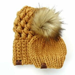 Mommy & Me Hats Puff Stitch Slouch + Solid | Mustard