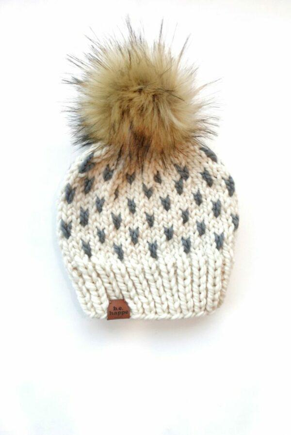 Happe Hearts Hat | Off White + Slate