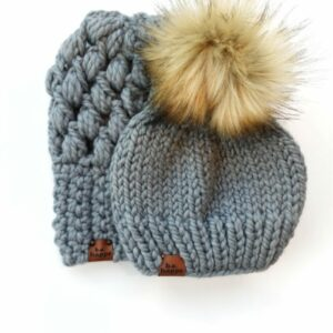 Mommy & Me Hats Puff Stitch Slouch + Solid | Slate