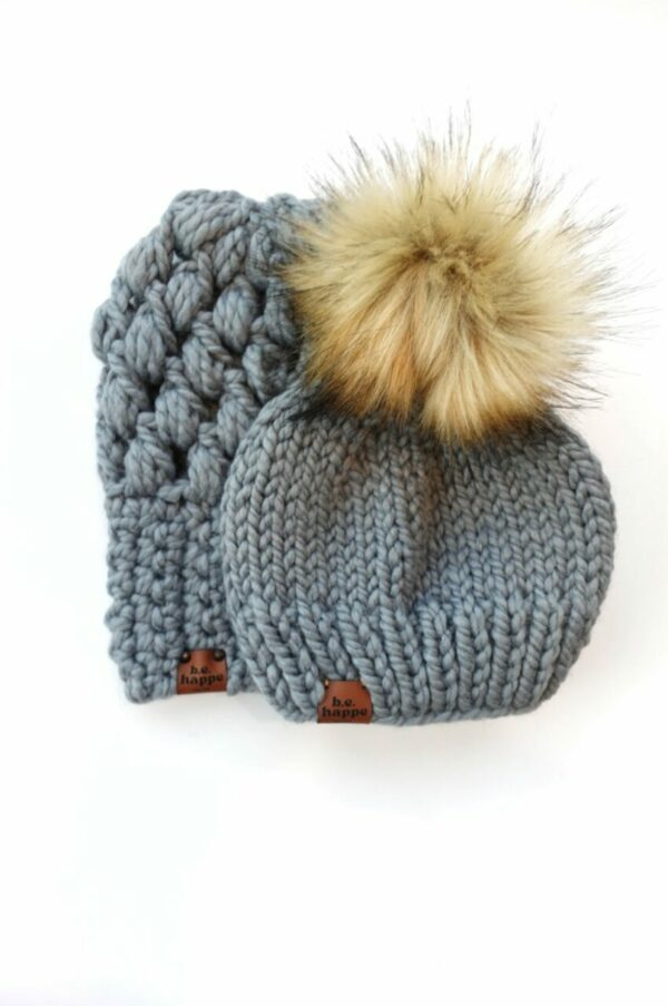 Mommy & Me Hats Puff Stitch Slouch + Solid   Slate