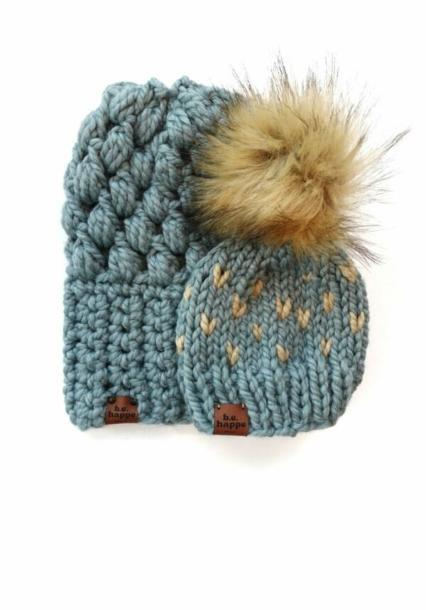 Mommy & Me Hats Puff Stitch Slouch + Happe Heart   Succulent