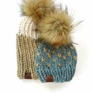 Mommy & Me Two Tone Ribbed Hat + Happe Heart | Peanut
