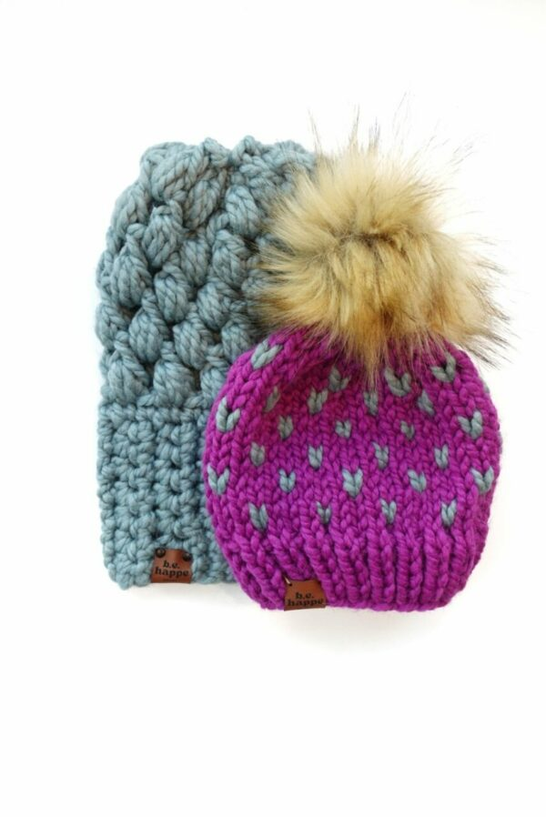 Mommy & Me Hats Puff Stitch Slouch + Happe Hearts | Succulent