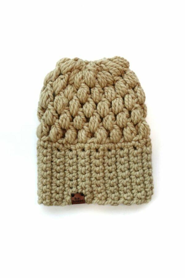 Puff Stitch Slouch Hat   Peanut