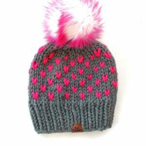 Happe Hearts Hat | Slate + Hot Pink