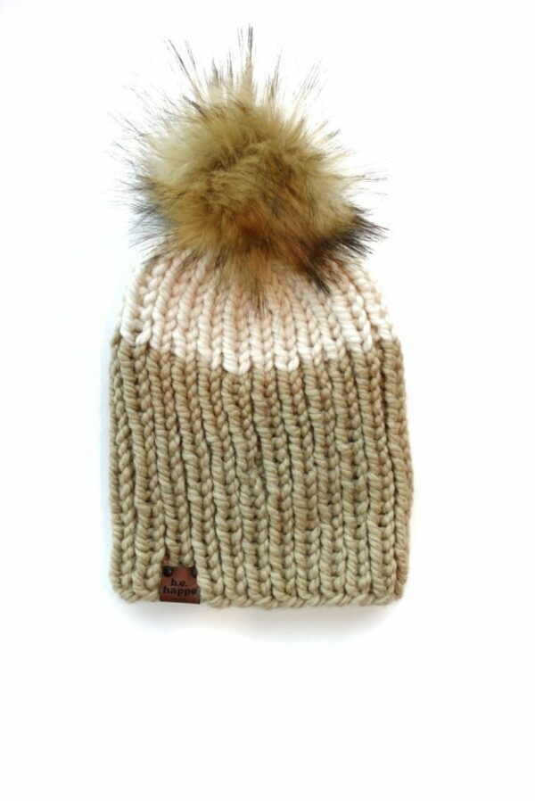 Adult Two Tone Ribbed Hat | Peanut + Off White