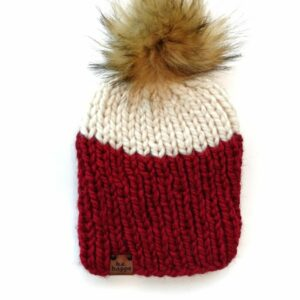 Adult Two Tone Ribbed Hat | Cranberry + Off White