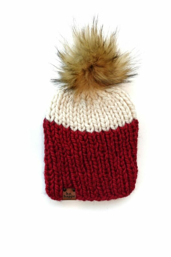 Adult Two Tone Ribbed Hat   Cranberry + Off White