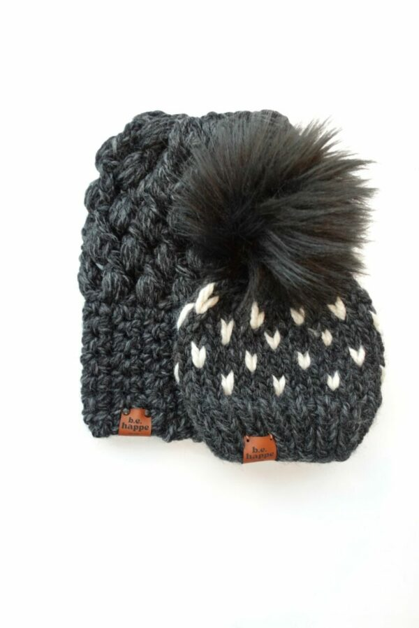 Mommy & Me Hats Puff Stitch Slouch + Happe Heart   Charcoal
