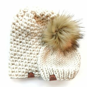 Mommy & Me Simple Slouch + Happe Heart Hat | Off White