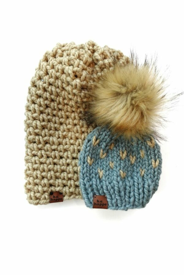 Mommy & Me Simple Slouch + Happe Hearts Hat   Peanut
