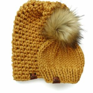 Mommy & Me Simple Slouch + Solid Hat | Mustard