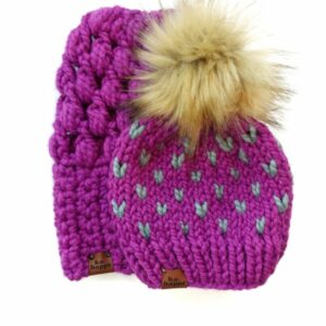 Mommy & Me Hats Puff Stitch Slouch + Happe Hearts | Lollipop