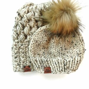 Mommy & Me Hats Puff Stitch Slouch + Solid | Oatmeal