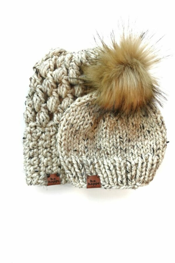 Mommy & Me Hats Puff Stitch Slouch + Solid   Oatmeal